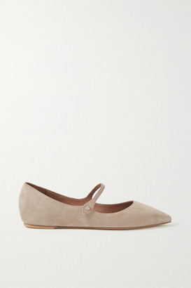 Tabitha Simmons Hermione Suede Point-toe Flats - Beige