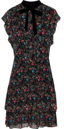 Anna Sui Velvet-Trimmed Ruffled Floral-Print Silk-Chiffon Mini Dress