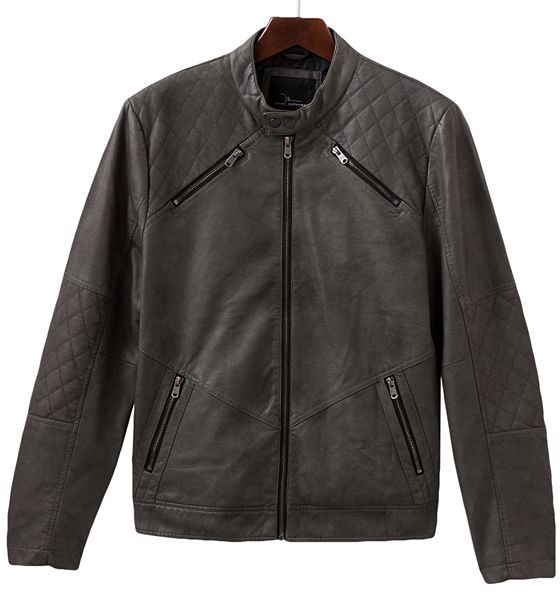 Marc anthony slim-fit faux-leather motorcycle jacket - men