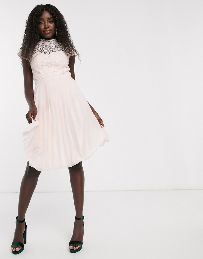Chi Chi London lace midi dress with pleated skirt in cream