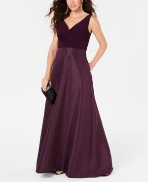 Adrianna Papell V-Neck Tie-Waist Gown