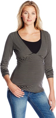 Ripe Maternity Women's Maternity Penny Stripe Long Sleeve Nursing Top