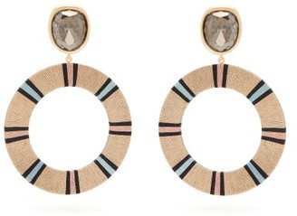 MaryJane Claverol Jenna Crystal And Striped Hoop Earrings - Beige Multi