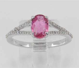 Margolin & Co Diamond and Pink Sapphire Ring, Pink Sapphire Engagement Ring, White Gold Promise Ring, Split Shank Engagement Ring, Size 7 FREE Sizing