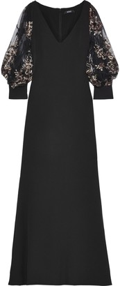 Badgley Mischka Embellished Tulle-paneled Stretch-crepe Gown