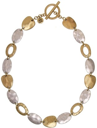 The Sak Two-Tone Hammered Disc Collar Necklace