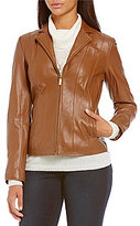 Cole Haan Notched Wing Collar Leather Jacket