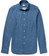 Incotex Ween Slim-fit Double-faced Checked Cotton-flannel Shirt - Blue