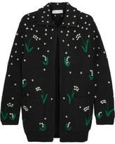 Valentino Oversized Embroidered Wool Cardigan - Black