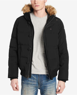 Tommy Hilfiger Men Big & Tall Short Parka Jacket with Faux Fur Hood