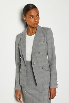 Karen Millen Button Detail Check Jacket