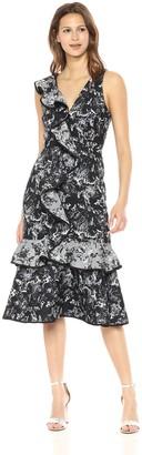 Keepsake Women's Dream Catcher V Neck A LINE Ruffle MIDI Dress