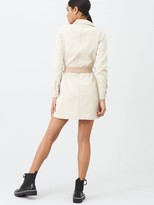 Missguided Contrast Pocket Belted Shirt Dress - Stone
