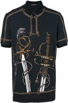Dolce & Gabbana sword print polo shirt - men - Cotton - 46