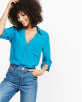 Express slim fit pieced chiffon portofino shirt