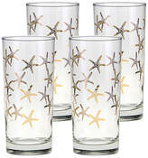 One Kings Lane Set of 4 Cooler Starfish Highball Glasses - Clear/Gold