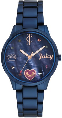 Juicy Couture Blue IP-Plated Watch w/Mother-of-Pearl Dial