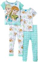 Disney Little Girls' Frozen Fever Flowers In Bloom 4-Piece Pajama Set