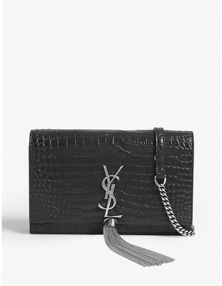 Saint Laurent Kate croc-embossed leather wallet-on-chain