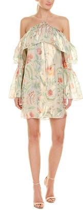 Rachel Zoe Off-The-Shoulder Silk-Blend Shift Dress