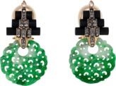 Lotus Arts de Vivre Carved Green Jade Earrings