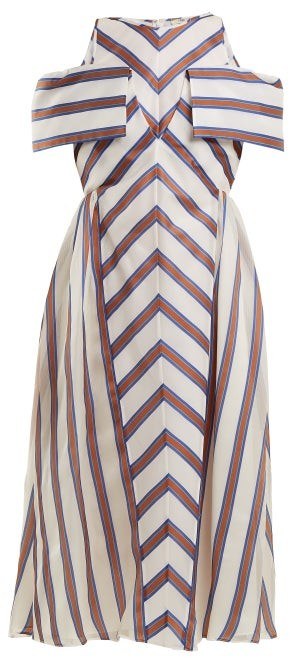 Fendi Striped Off The Shoulder Silk Blend Dress - Womens - Brown Stripe