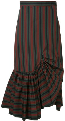 Rosetta Getty Striped Asymmetric Skirt