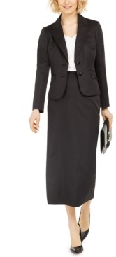 Le Suit Notched-Lapel Column Skirt Suit