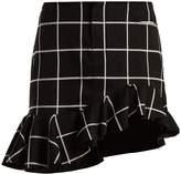 Marques Almeida MARQUES'ALMEIDA Checked ruffled-hem cotton-blend mini skirt