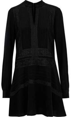 Derek Lam 10 Crosby Lace-trimmed Pintucked Crepe De Chine Mini Dress