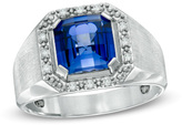 Zales Men's 9.0mm Cushion-Cut Lab-Created Blue Sapphire and 1/8 CT.T.W. Diamond Framed Ring in Sterling Silver