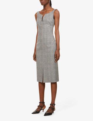 Alexander McQueen Check-print stretch-wool midi dress