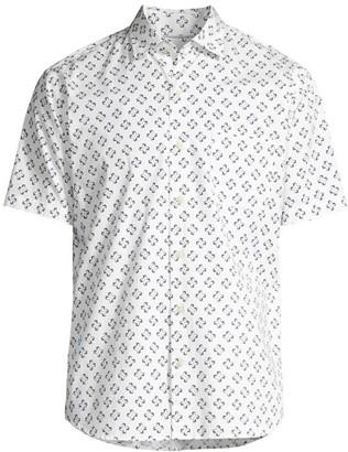 Peter Millar Herringbone Short-Sleeve Button-Front Shirt