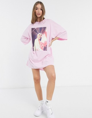 ASOS DESIGN oversized T-shirt dress with elton john photographic print in pink
