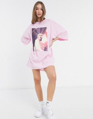 ASOS DESIGN oversized T-shirt dress with elton john photographic print in pink