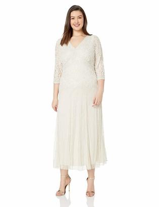 Pisarro Nights Women's Plus Size Long v-Neck lace Beaded Dress
