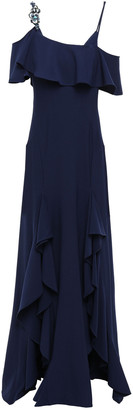 ZAC Zac Posen Embellished Cold-shoulder Stretch-crepe Gown