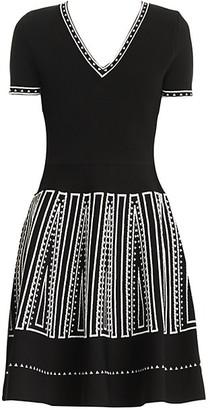 Carolina Herrera Graphic-Trim Short-Sleeve V-Neck Fit--Flare Dress