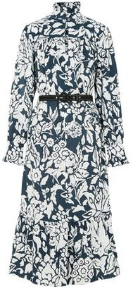 ALEXACHUNG Ruffle-trimmed Printed Cotton-poplin Midi Dress