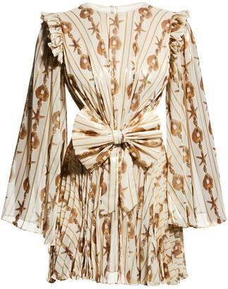 Raisa Vanessa Draped Bow Chiffon Mini Dress