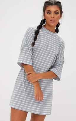 PrettyLittleThing Burgundy Striped Oversized T Shirt Dress
