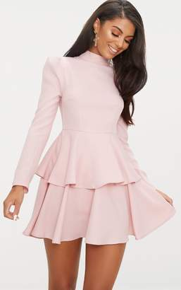 PrettyLittleThing Dusty Pink High Neck Tiered Skater Dress