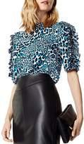 Karen Millen Ruffled Leopard Print Top