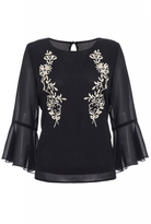 Quiz Black and Gold Chiffon Embroidered Frill Sleeve Top
