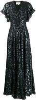 BA&SH Gemma metallic leopard-print dress