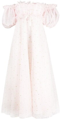 Giambattista Valli Floral-Embroidered Off-Shoulder Dress