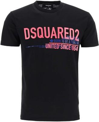 DSQUARED2 T-SHIRT WITH UNITED SINCE '64 PRINT L Black, Fuchsia, Blue Cotton