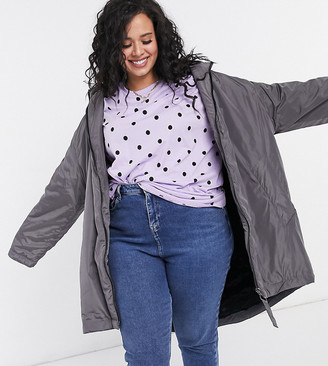 ASOS DESIGN Curve Faux fur lined raincoat in gray