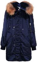Dondup fur detail coat - women - Lamb Skin/Acrylic/Polyamide/Racoon Fur - 38