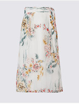 M&S Collection Floral Print A-Line Midi Skirt